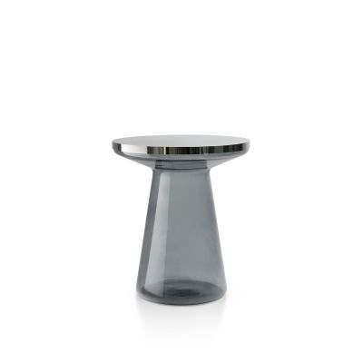 Figure Side Table Gray & Polished stainless steel