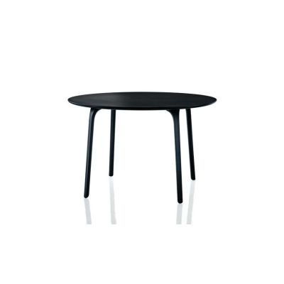 First Table - Round Black Legs and Black MDF Top, 120 cm