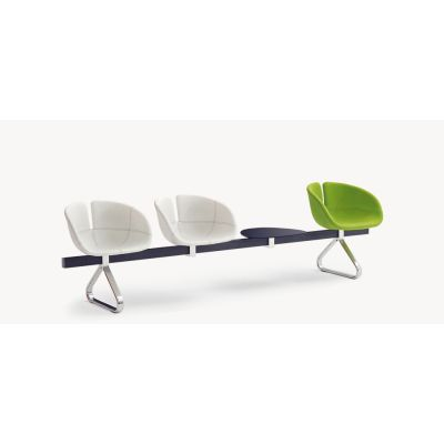 Fjord Bench with 1 Table - new 250, A4301 - Stamskin Top 4340-07478, White