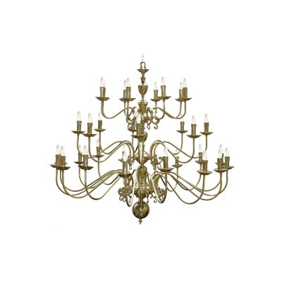 Flemish Chandelier Polished Brass