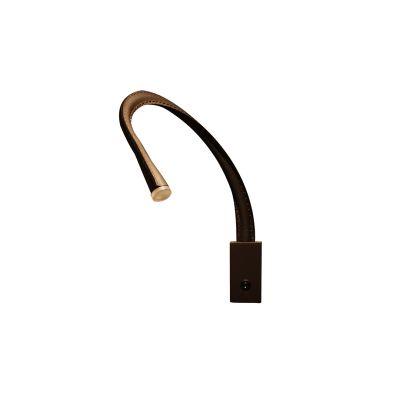 Flexiled L60 Wall Light Satin nickel w/ switch, Black leather