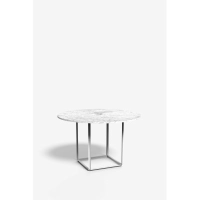 Florence Dining Table Metallic White with White Carrara Marble