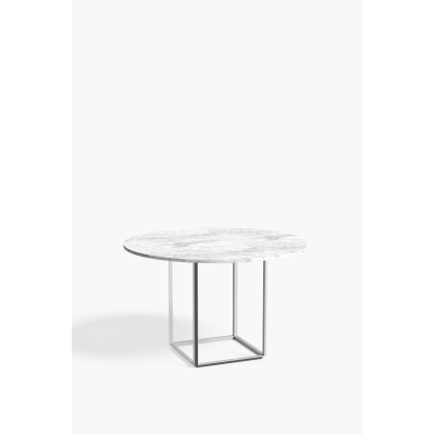 Florence Dining Table Metallic White Frame, White Carrera Marble Top