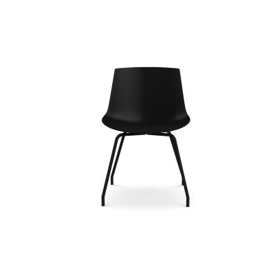 Flow Dining Chair, 4 Legs Base - Set of 2 Black Shell  & Chrome Plated Frame