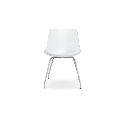 Flow Dining Chair, 4 Legs Base - Set of 2 White Shell & Matt White Frame
