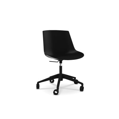 Flow Chair, Adjustable Height, Star Base with Castors Black Shell & Matt Graphite Grey Frame