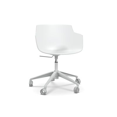 Flow Slim Chair, Adjustable Height, Star Base with Castors Black Shell & Graphite Grey Frame