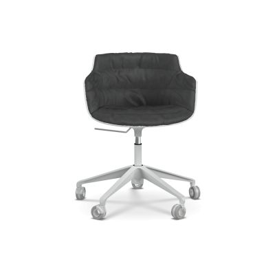 Flow Slim Chair, Adjustable Height, Star Base with Castors, Padded Maia_Avorio_R220_Col._2-2, White
