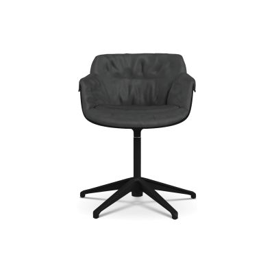 Flow Slim Chair, Fixed Star Base, Padded XL Pelle_albicocca_R801, Black