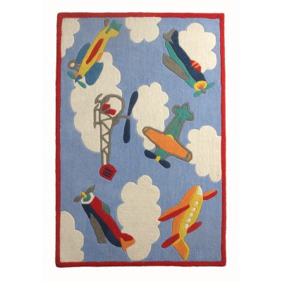 Flying Machines: Children's Wool Rug Flying Machines: Childrens Wool Rug