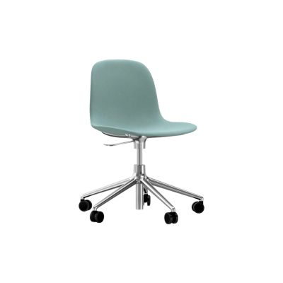 Form Swivel Chair 5W Gaslift - Fully Upholstered Sørensen Ultra Leather Black Brown - 41590, NC White Aluminium