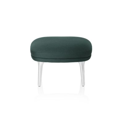 Fri Foot Stool with Brushed Aluminium Legs Natural Leather