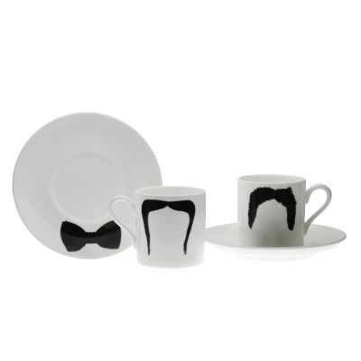 Fu Magnum Moustache Espresso Cup and Saucer Set