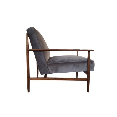 Gaia Armchair Wengè with client fabric