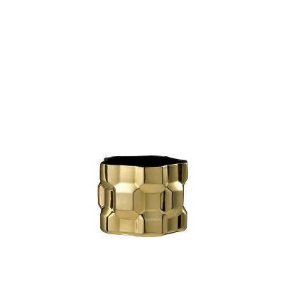Gear Vase Glossy Gold, Glossy Black