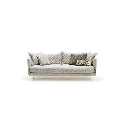 Gentry 2-Seater Sofa - new 180 x 90, A7320 - Units 1 Merlino beige, Steel Chrome
