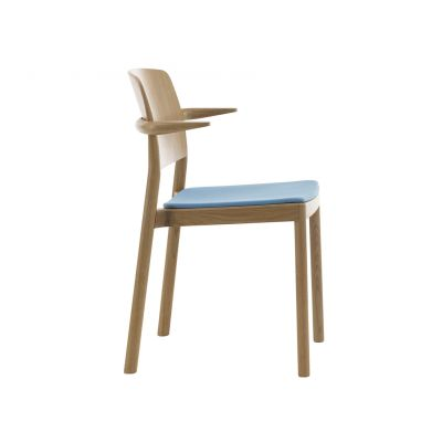 Grace Upholstered Armchair, Stackable Ash Wood Natural Lacquer, Main Line Flax Newbury