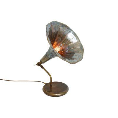 Gramophone Table Lamp Polished Brass, UL Plug
