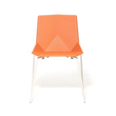 Green Eco Metal Dining Chair Orange Seat