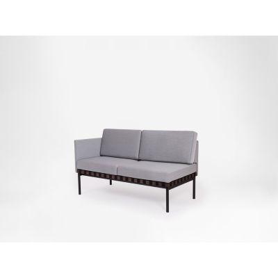 Grid - 2 Seater Sofa With 1 Armrest Coda 2 100, Oak, Left