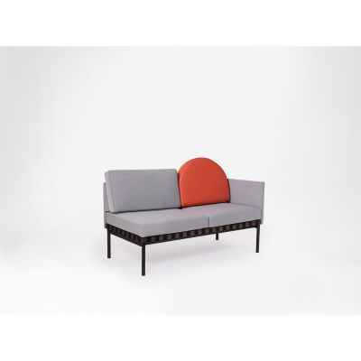 Grid - 2 Seater Sofa With 1 Armrest, With Round Cushion Coda 2 962, Walnut, Left, Plot