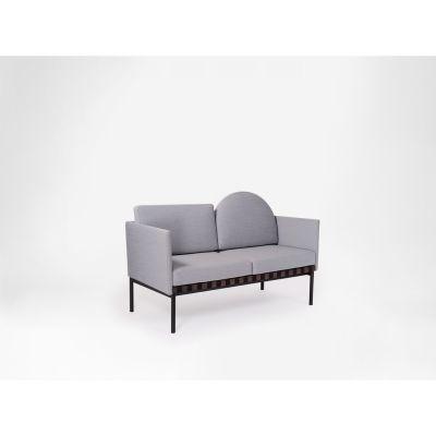 Grid - 2 Seater Sofa With Armrests, With Round Cushion Coda 2 962, Walnut, Plot