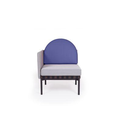 Grid Round Back Left Corner Armchair Steelcut Trio 2 144, Blue leather