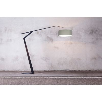 Grus Floor Lamp W Sage, 115E Fine Textured Dusty Grey