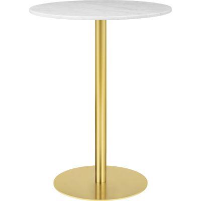 Gubi 1.0 Round Bar Table Ø80, Gubi Metal Brass, Gubi Marble Marrone Emperador