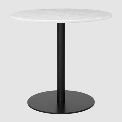 Gubi 1.0 Round Dining Table Ø80, Gubi Metal Black, Gubi Marble Bianco Carrara