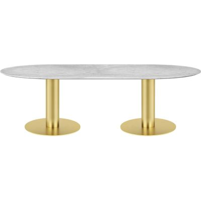 Gubi 2.0 Elliptical Dining Table - Marble 130x240, Gubi Metal Black, Gubi Marble Verde Guatemala