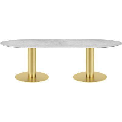 Gubi 2.0 Elliptical Dining Table - Marble 130x240, Gubi Metal Black, Gubi Marble Verde Guatemala
