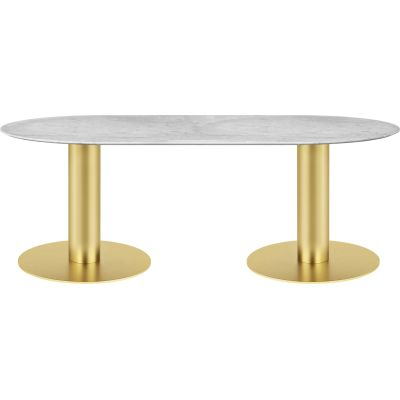 Gubi 2.0 Elliptical Dining Table - Marble 100x200, Gubi Metal Brass, Gubi Marble Bianco Carrara