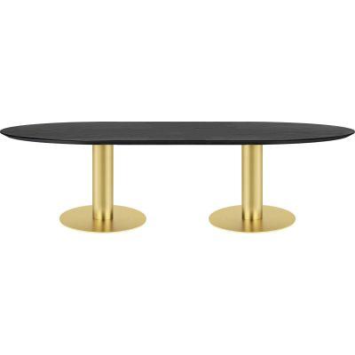 Gubi 2.0 Elliptical Dining Table - Wood 130x280, Gubi Metal Brass, Gubi Wood Black Stained Ash