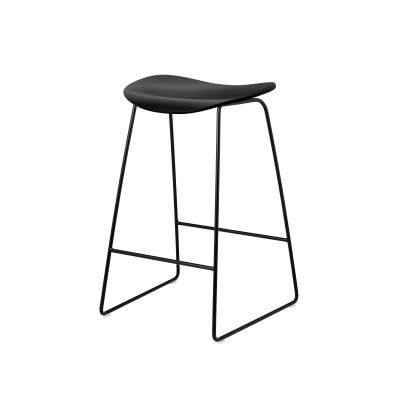 Gubi 2D Counter Stool Sledge Base - Unupholstered Gubi Wood Black Stained Birch, Gubi Metal Black