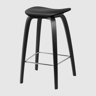Gubi 2D Wood Base Counter Stool - Unupholstered Gubi Wood Black Stained Birch, Gubi Metal Chrome