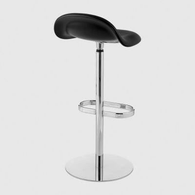 Gubi 3D Bar Stool Swivel Base - Front Upholstered Gubi Leather Black, Gubi Wood Oak