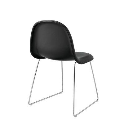 Gubi 3D Dining Chair Sledge Base - Fully Upholstered Leather Silk SIL7008 Purple, Gubi Metal Black, Yes