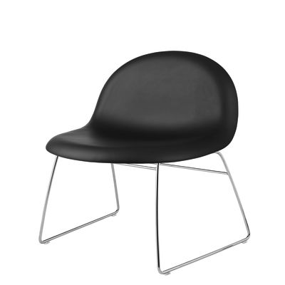 Gubi 3D Lounge Chair Sledge Base - Fully Upholstered Gubi Leather Black, Gubi Metal Black