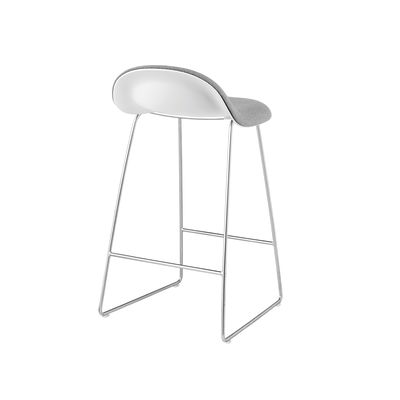 Gubi 3D Sledge Base Counter Stool - Front Upholstered Gubi Wood Oak, Gubi Leather Black, Gubi Metal Chrome
