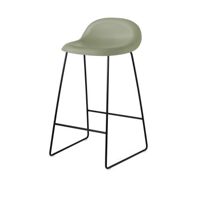 Gubi 3D Sledge Base Counter Stool - Unupholstered Gubi HiRek Mistletoe, Gubi Metal Black