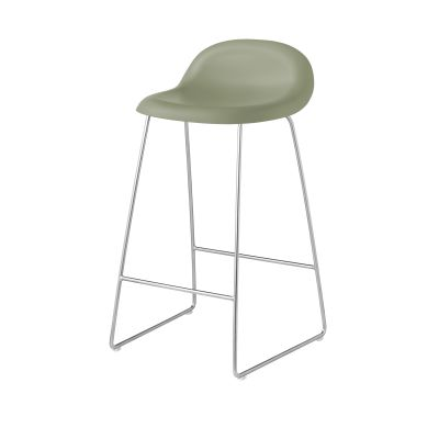 Gubi 3D Sledge Base Counter Stool - Unupholstered Gubi HiRek Mistletoe, Gubi Metal Chrome