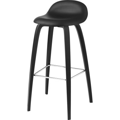 Gubi 3D Wood Base Bar Stool - Fully Upholstered Gubi Leather Black, Gubi Wood Black Stained Beech