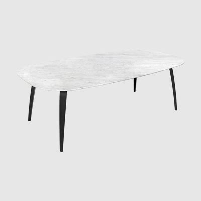 Gubi Dining Table - Elliptical – Marble Oak, Bianco Carrara Marble