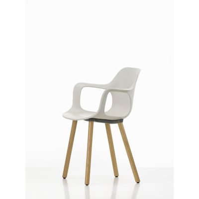 HAL Armchair Wood 31 warm grey, 05 felt glides for hand floor, Base walnut black pigmented