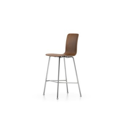 HAL Ply Stool Medium walnut black pigmented, 04 glides for carpet, 04 white