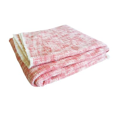 Hand Woven Textured Throw Blush