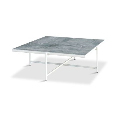 Handvärk Coffee Table 90 Grey Marble, Black Base