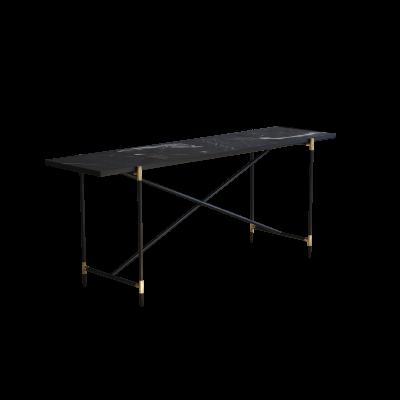 Handvärk Console Table, Brass Details Grey Marble