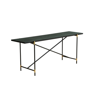 Handvärk Console Table, Brass Details Green Marble